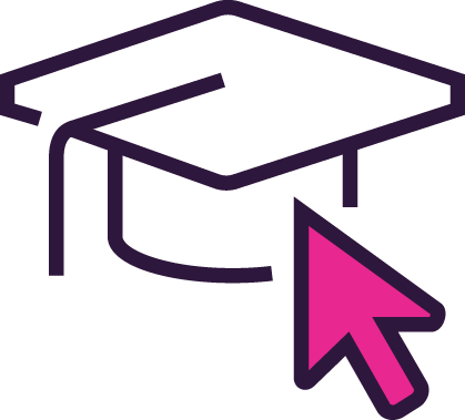 image of graduate hat and mouse pointer representing roar diy seo software academy