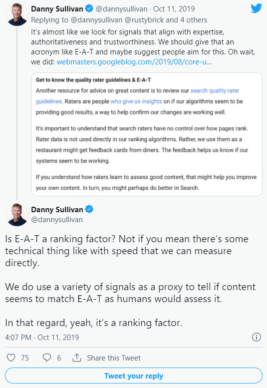 A snippet of a tweet by Danny Sullivan about Google E-A-T