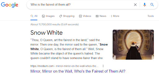 image of a featured snippet to help understand topic clusters